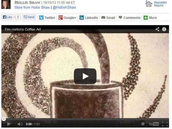 Tim Horton's Financial Post Coffee Art