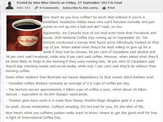 Tim Horton's National Coffee Day Facebook