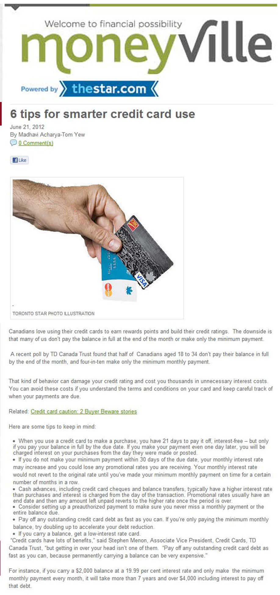 TD Canada Trust Credit Card Tips