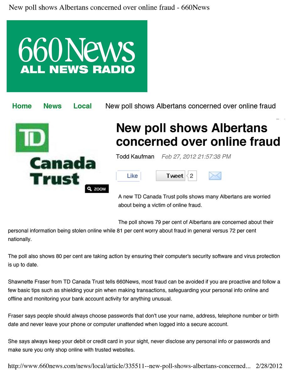 TD Canada Trust poll