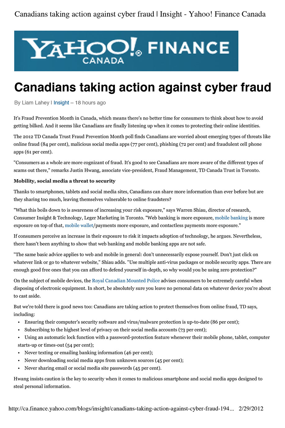 TD Canada Trust Cyber Fraud Prevention