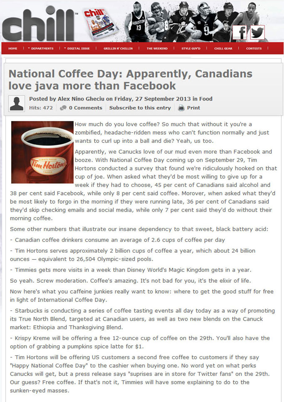 Tim Hortons Media Coverage