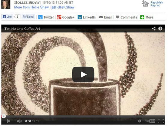 Tim Horton's Financial Post Coffee Art
