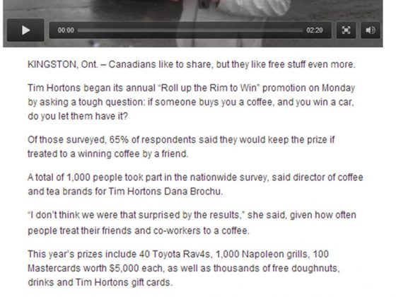 Tim Hortons on News Canada